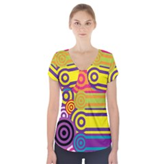 Retro Circles And Stripes Colorful 60s And 70s Style Circles And Stripes Background Short Sleeve Front Detail Top