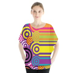 Retro Circles And Stripes Colorful 60s And 70s Style Circles And Stripes Background Blouse