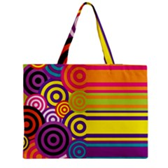 Retro Circles And Stripes Colorful 60s And 70s Style Circles And Stripes Background Medium Tote Bag