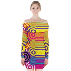 Retro Circles And Stripes Colorful 60s And 70s Style Circles And Stripes Background Long Sleeve Off Shoulder Dress