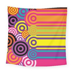 Retro Circles And Stripes Colorful 60s And 70s Style Circles And Stripes Background Square Tapestry (large)
