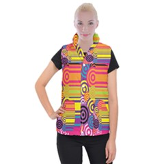 Retro Circles And Stripes Colorful 60s And 70s Style Circles And Stripes Background Women s Button Up Puffer Vest
