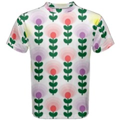 Floral Wallpaer Pattern Bright Bright Colorful Flowers Pattern Wallpaper Background Men s Cotton Tee