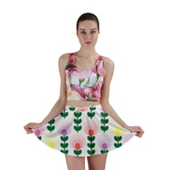 Floral Wallpaer Pattern Bright Bright Colorful Flowers Pattern Wallpaper Background Mini Skirt