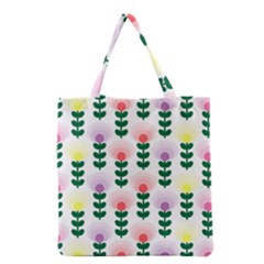 Floral Wallpaer Pattern Bright Bright Colorful Flowers Pattern Wallpaper Background Grocery Tote Bag
