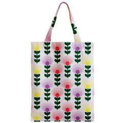 Floral Wallpaer Pattern Bright Bright Colorful Flowers Pattern Wallpaper Background Classic Tote Bag