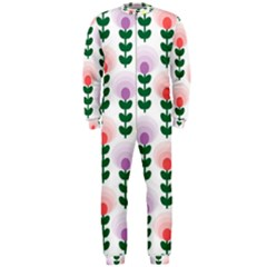 Floral Wallpaer Pattern Bright Bright Colorful Flowers Pattern Wallpaper Background OnePiece Jumpsuit (Men)