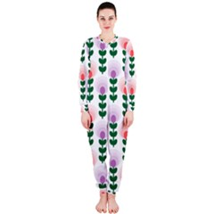 Floral Wallpaer Pattern Bright Bright Colorful Flowers Pattern Wallpaper Background OnePiece Jumpsuit (Ladies)