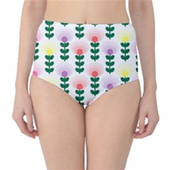 Floral Wallpaer Pattern Bright Bright Colorful Flowers Pattern Wallpaper Background High-Waist Bikini Bottoms