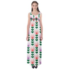 Floral Wallpaer Pattern Bright Bright Colorful Flowers Pattern Wallpaper Background Empire Waist Maxi Dress