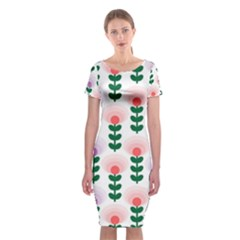Floral Wallpaer Pattern Bright Bright Colorful Flowers Pattern Wallpaper Background Classic Short Sleeve Midi Dress