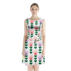 Floral Wallpaer Pattern Bright Bright Colorful Flowers Pattern Wallpaper Background Sleeveless Chiffon Waist Tie Dress