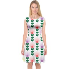 Floral Wallpaer Pattern Bright Bright Colorful Flowers Pattern Wallpaper Background Capsleeve Midi Dress