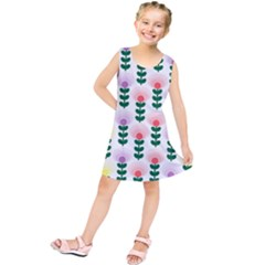 Floral Wallpaer Pattern Bright Bright Colorful Flowers Pattern Wallpaper Background Kids  Tunic Dress