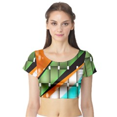 Abstract Wallpapers Short Sleeve Crop Top (Tight Fit)