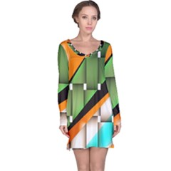 Abstract Wallpapers Long Sleeve Nightdress