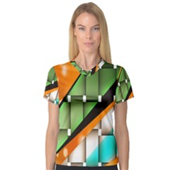 Abstract Wallpapers Women s V-Neck Sport Mesh Tee