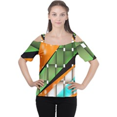 Abstract Wallpapers Women s Cutout Shoulder Tee