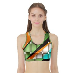 Abstract Wallpapers Sports Bra with Border