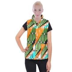 Abstract Wallpapers Women s Button Up Puffer Vest