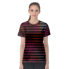 Colorful Venetian Blinds Effect Women s Sport Mesh Tee