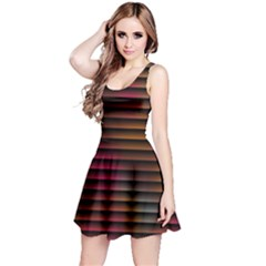 Colorful Venetian Blinds Effect Reversible Sleeveless Dress