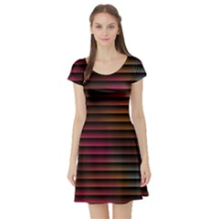 Colorful Venetian Blinds Effect Short Sleeve Skater Dress