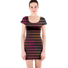Colorful Venetian Blinds Effect Short Sleeve Bodycon Dress