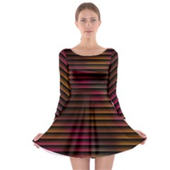 Colorful Venetian Blinds Effect Long Sleeve Skater Dress
