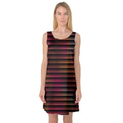 Colorful Venetian Blinds Effect Sleeveless Satin Nightdress