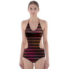 Colorful Venetian Blinds Effect Cut Out One Piece Swimsuit