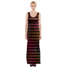 Colorful Venetian Blinds Effect Maxi Thigh Split Dress