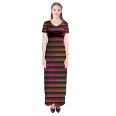 Colorful Venetian Blinds Effect Short Sleeve Maxi Dress