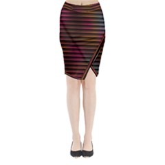 Colorful Venetian Blinds Effect Midi Wrap Pencil Skirt