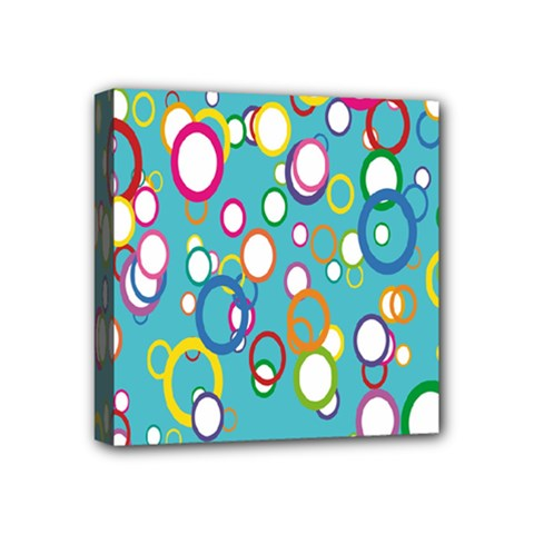 Circles Abstract Color Mini Canvas 4  X 4