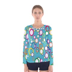 Circles Abstract Color Women s Long Sleeve Tee