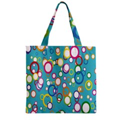 Circles Abstract Color Zipper Grocery Tote Bag