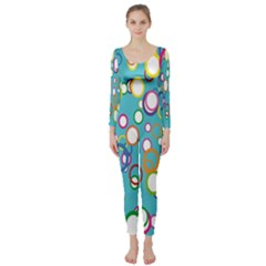 Circles Abstract Color Long Sleeve Catsuit