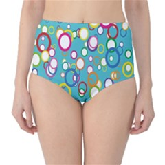 Circles Abstract Color High-Waist Bikini Bottoms