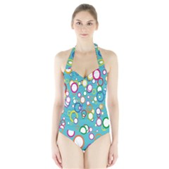 Circles Abstract Color Halter Swimsuit