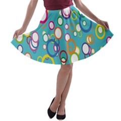 Circles Abstract Color A Line Skater Skirt