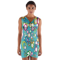 Circles Abstract Color Wrap Front Bodycon Dress