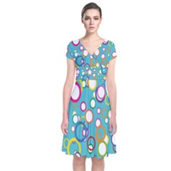 Circles Abstract Color Short Sleeve Front Wrap Dress
