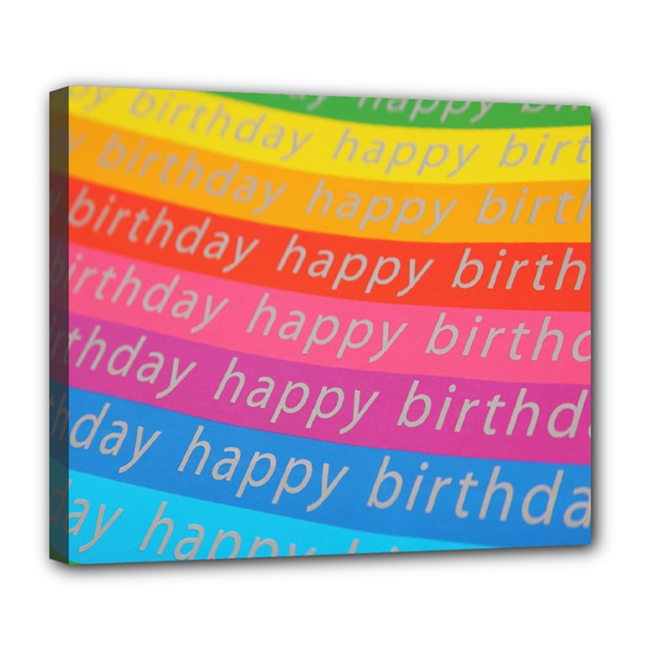 Colorful Happy Birthday Wallpaper Deluxe Canvas 24  x 20