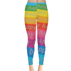 Colorful Happy Birthday Wallpaper Leggings