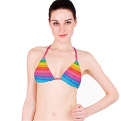 Colorful Happy Birthday Wallpaper Bikini Top