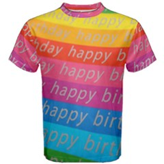 Colorful Happy Birthday Wallpaper Men s Cotton Tee