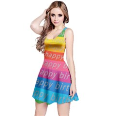 Colorful Happy Birthday Wallpaper Reversible Sleeveless Dress