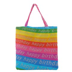 Colorful Happy Birthday Wallpaper Grocery Tote Bag