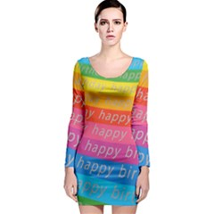Colorful Happy Birthday Wallpaper Long Sleeve Bodycon Dress
